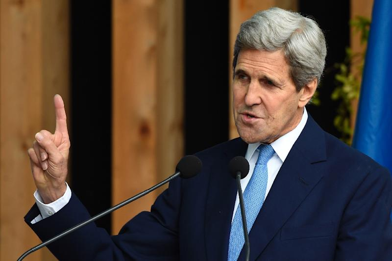 US Secretary of State John Kerry speaks during a visit to the 2015 Expo in Milan, on October 17, 2015