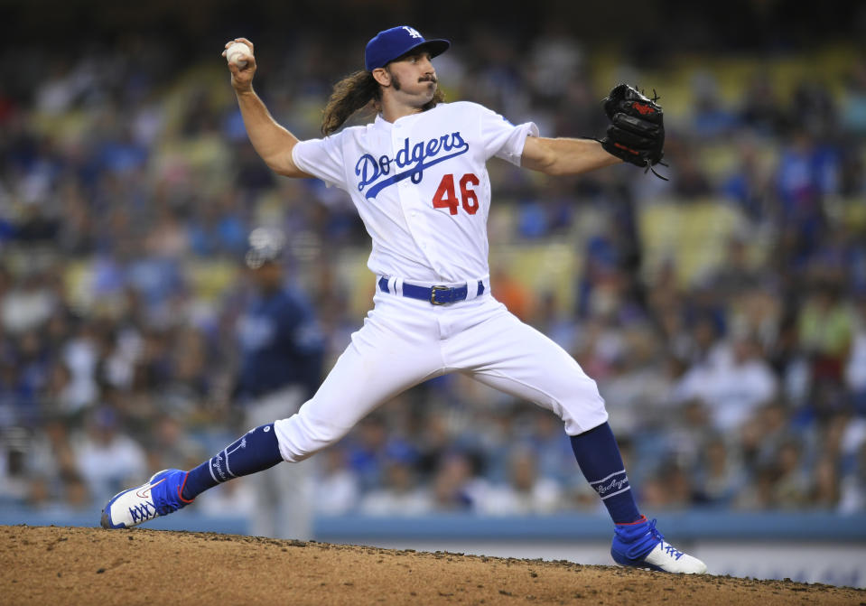 LOS ANGELES, CA - SEPTEMBER 18: Tony Gonsolin #46 of the Los Angeles Dodgers pitches against the Tampa Bay Rays at Dodger Stadium on September 18, 2019 in Los Angeles, California. The Rays won in the 11th inning 8-7. (Photo by John McCoy/Getty Images)