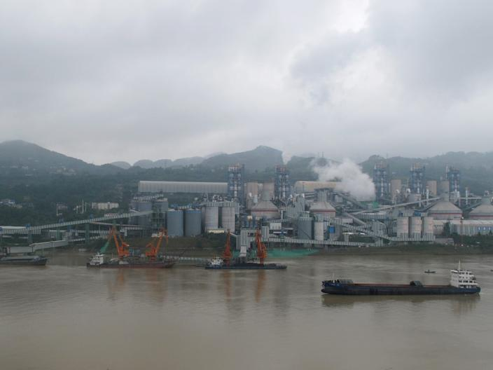 A cement plant by the Yangtze river near Fuling County in Chongqing, China.