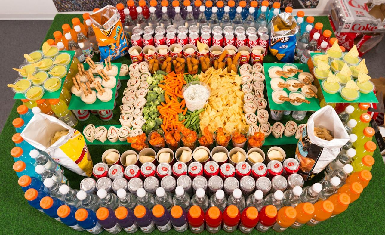 how to make a football stadium out of food
