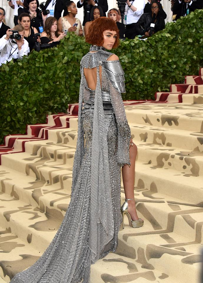 <p>For the 2018 Met Gala, Zendaya channeled Joan of Arc in a chainmail Versace dress in keeping with the theme of 'Heavenly Bodies: Fashion & The Catholic Imagination'. <em>[Photo: Getty]</em> </p>