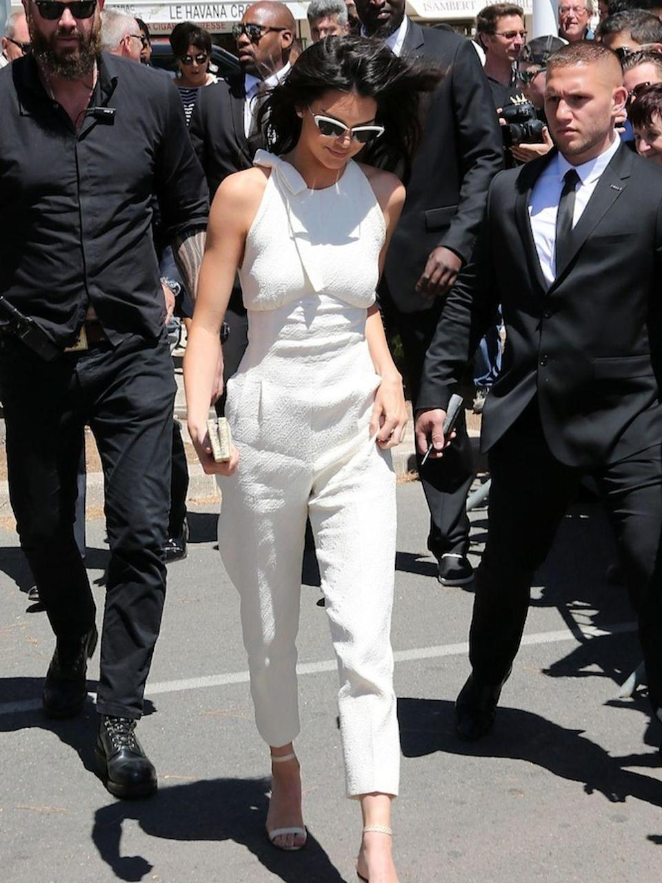 <p>Kendall arriving at Magnum Beach on May 12, 2016 in Cannes</p>