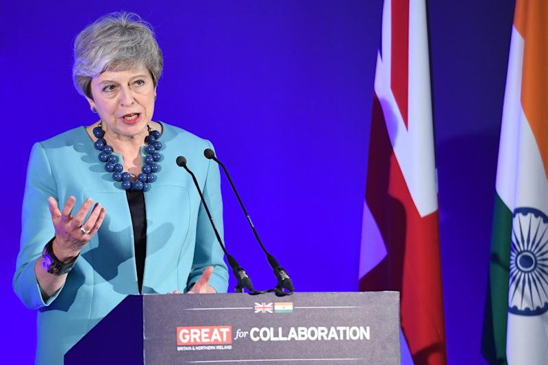 Prime Minister Theresa May makes a speech in central London on the UK's trading relationship with India.