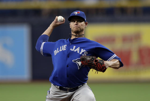 Toronto Blue Jays' Clay Buchholz pitches to the Tampa Bay Rays during the first inning of a baseball game Friday, Sept. 6, 2019, in St. Petersburg, Fla. (AP Photo/Chris O'Meara)