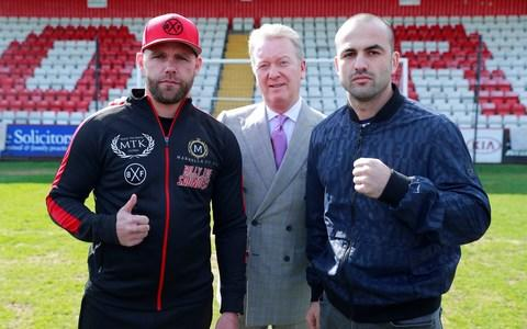 Billy Joe Saunders, Shefat Isufi and promoter Frank Warren  - Credit: Action Images
