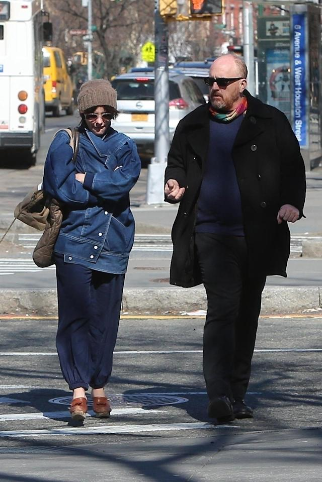 Actress Parker Posey and Louis C.K. are spotted out on a stroll together in New York City on Wednesday. (Photo: Backgrid)