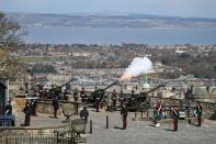Gun salute is fired to mark the death of Britain's Prince Philip, in Edinburgh