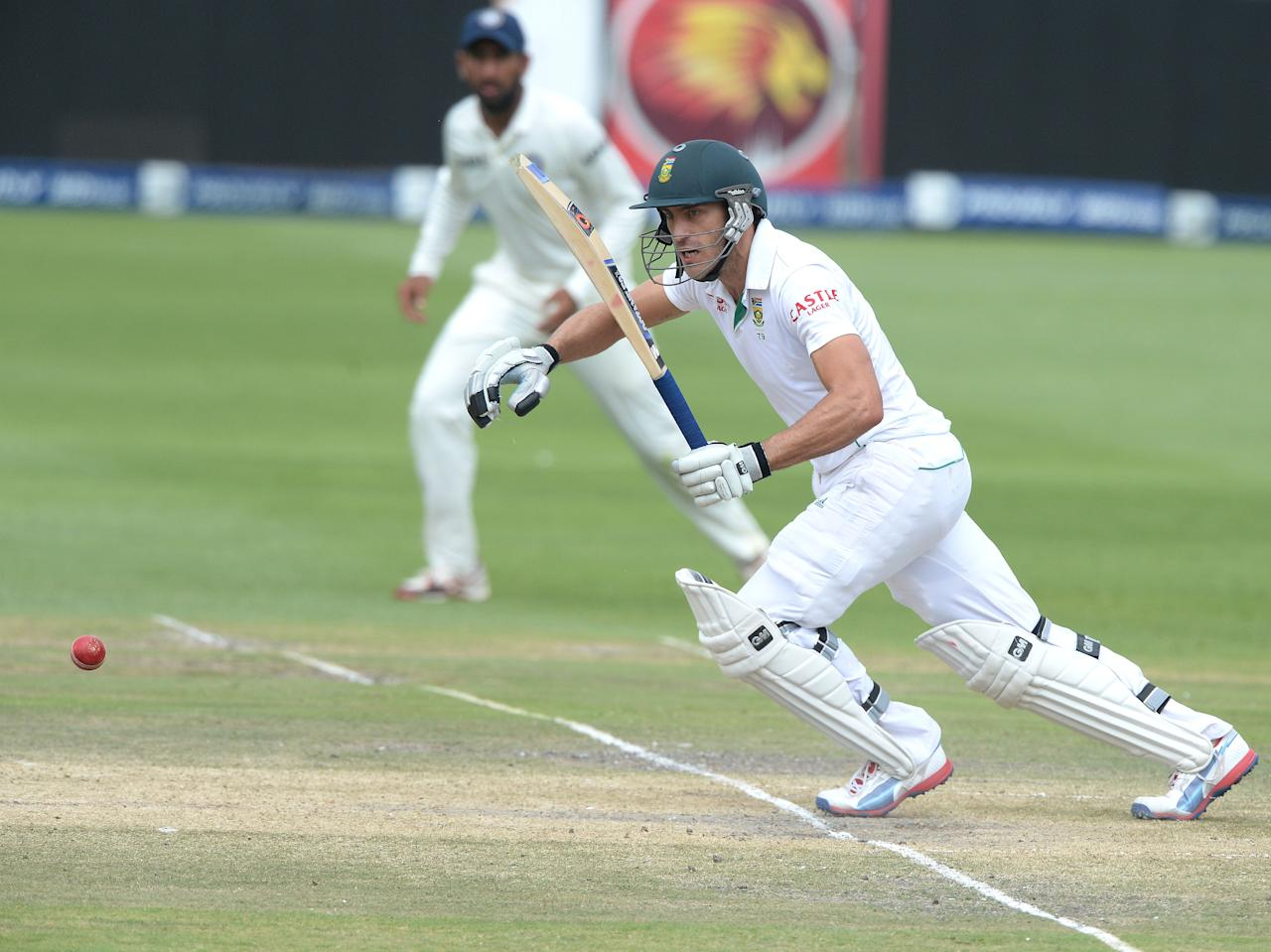 JOHANNESBURG, SOUTH AFRICA - DECEMBER 22:  Faf du Plessis of South Africa sets off for a run during day 5 of the 1st Test match between South Africa and India at Bidvest Wanderers Stadium on December 22, 2013 in Johannesburg, South Africa. (Photo by Duif du Toit/Gallo Images)