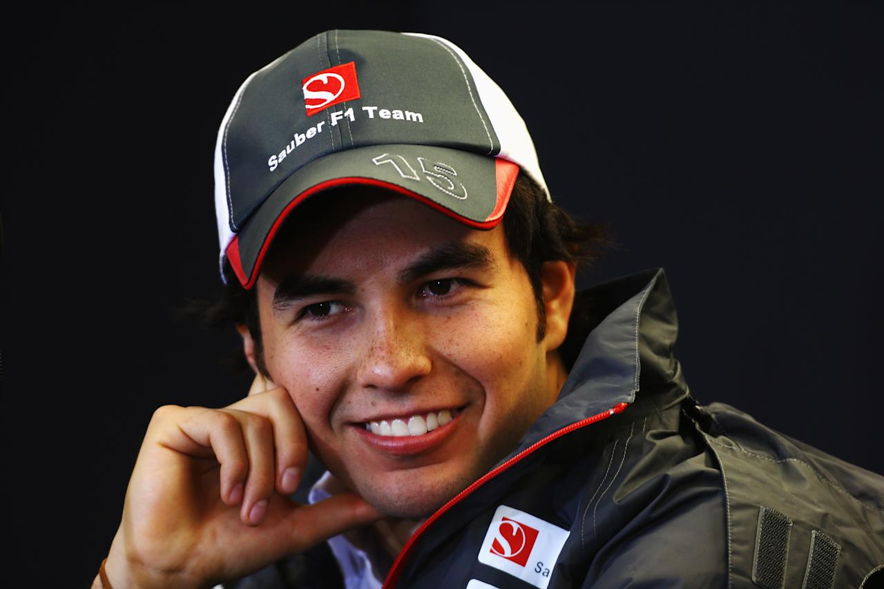 AUSTIN, TX - NOVEMBER 15:  Sergio Perez of Mexico and Sauber F1 attends the drivers press conference during previews to the United States Formula One Grand Prix at the Circuit of the Americas on November 15, 2012 in Austin, United States.  (Photo by Paul Gilham/Getty Images)