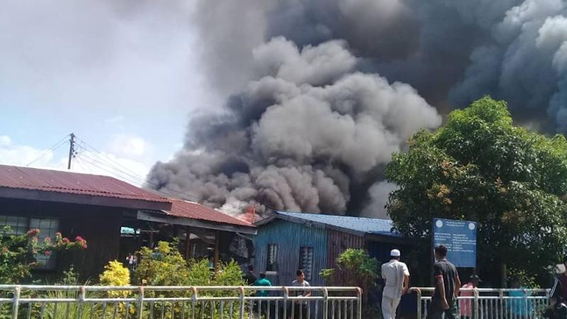 The fire at Kampung Pasir Putih in Putatan, Sabah left 315 people homeless, January 11, 2019. ― Picture courtesy of Sabah Fire and Rescue Services Department