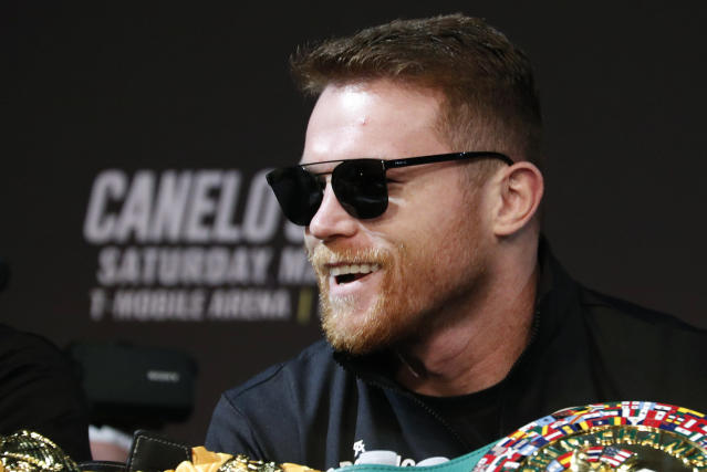 Canelo Alvarez attends a news conference for a middleweight title boxing match against Daniel Jacobs, Wednesday, May 1, 2019, in Las Vegas. The two are scheduled to fight Saturday in Las Vegas. (AP Photo/John Locher)