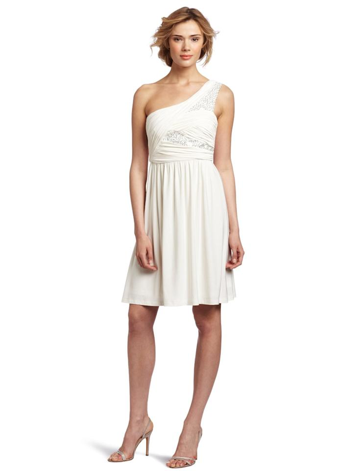 """<div class=""""caption-credit""""> Photo by: Amazon</div><div class=""""caption-title""""></div><b>maxandcleo Emily Sequin Dress, $63.80</b> <br> Ruched jersey and just a hint of sparkle is perfect for summer events. <a rel=""""nofollow"""" target="""""""" href=""""http://www.amazon.com/maxandcleo-Womens-Emily-Sequin-Eggshell/dp/B007E8M69Y?tag=yahshi-20"""">Click here to buy.</a> <br> <a rel=""""nofollow"""" href=""""http://www.amazon.com/maxandcleo-Womens-Emily-Sequin-Eggshell/dp/B007E8M69Y""""><br></a>"""