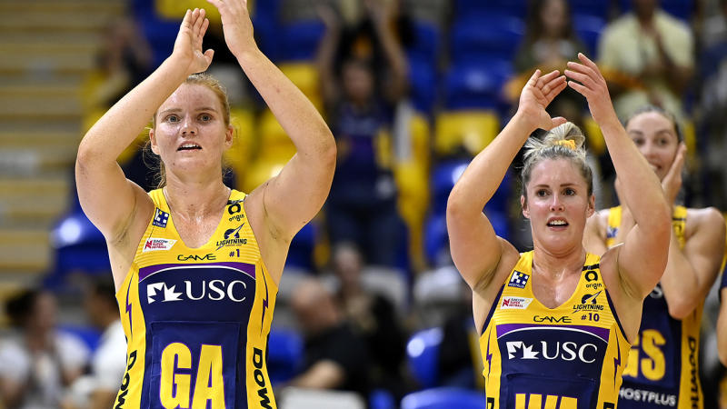 Sunshine Coast Lightning players, pictured here celebrating their win over the Giants.