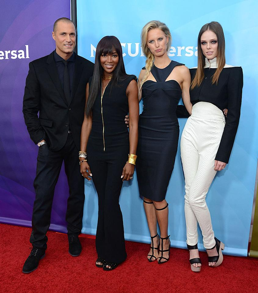 "Nigel Barker, Naomi Campbell, Karolina Kurkova, and Coco Rocha (""The Face"") attend NBC Universal's 2013 Winter TCA Tour at the Langham Hotel on January 7, 2013 in Pasadena, California."