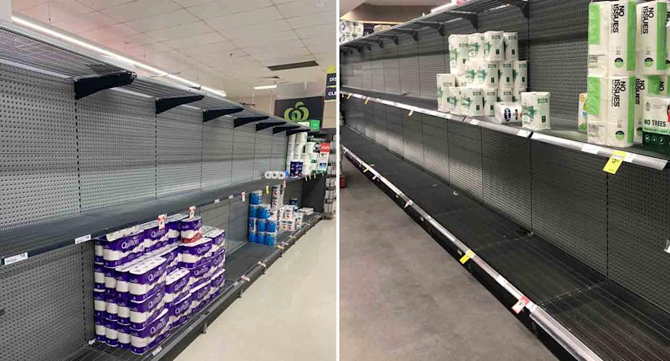 Shoppers have loaded up on toilet paper ahead of a snap lockdown. Source: Twitter