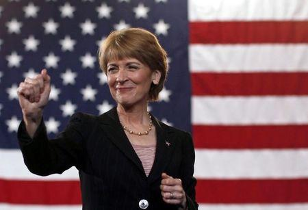 Candidate for U.S. Senate Attorney General Martha Coakley gestures to the crowd during a campaign rally at Northeastern University in Boston