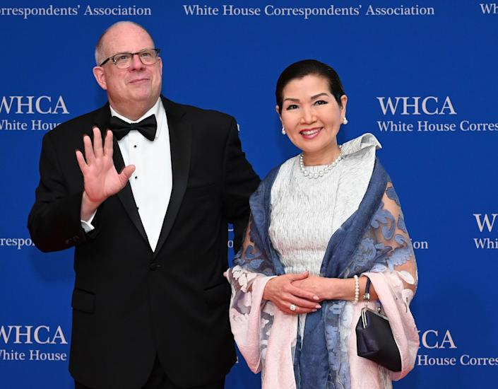 Maryland governor Larry Hogan with his wife, Yumi Hogan: Getty Images