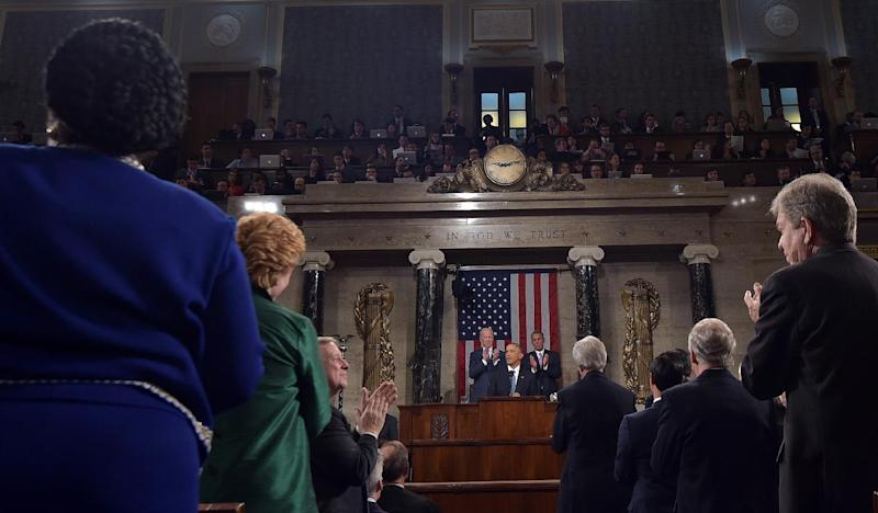 US President Barack Obama arrives to deliver the State of the Union address before a joint session of Congress on January 20, 2015 at the US Capitol in Washington (AFP Photo/Mandel Ngan)