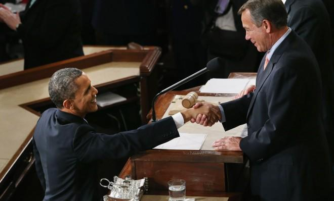 President Obama shakes hands with House Speaker John Boehner before the State of the Union address.