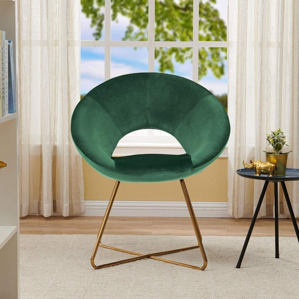 <p>This <span>Duhome Modern Accent Velvet Chair</span> ($108) went viral last year - it comes in all sorts of different colors.</p>