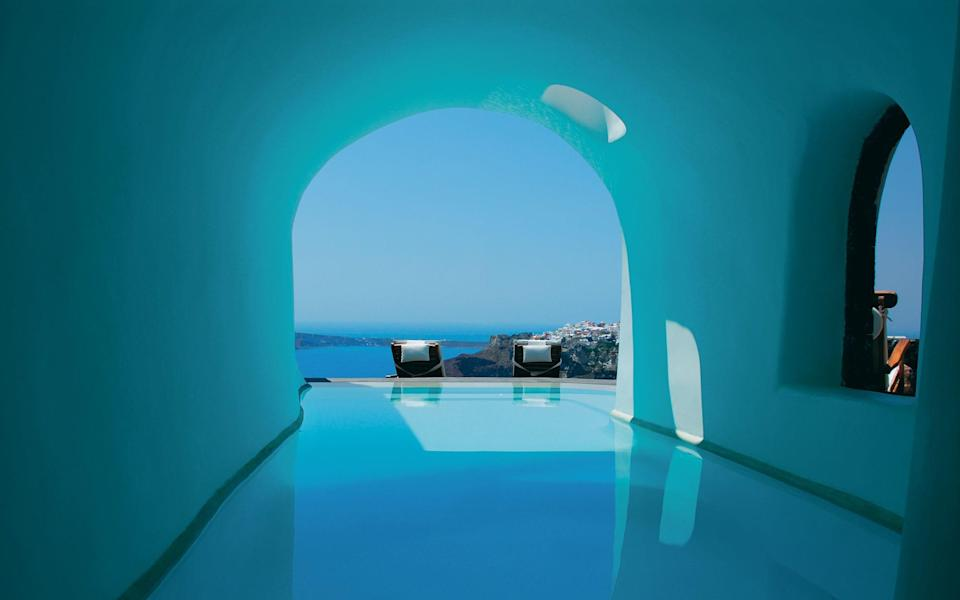 The hotel that put Oia on the map and spawned countless imitators, Perivolas is in a league of its own.