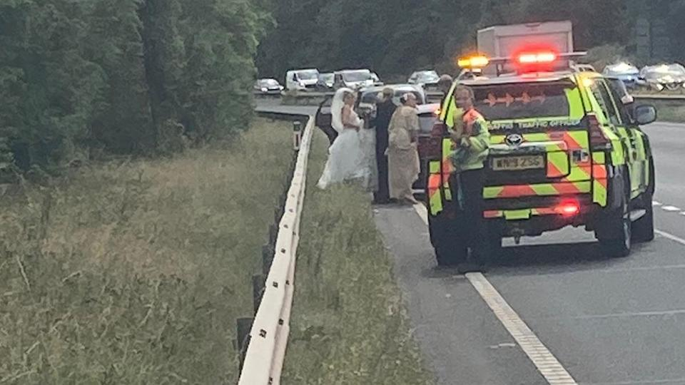 Traffic police came to the rescue after the car spluttered to a halt on the A55 near Chester (swns)