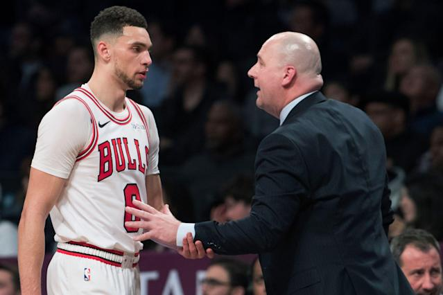 Zach LaVine has offered to pay for coach Jim Boylen's fines after he was ejected in their game against the Clippers on Friday night in Los Angeles. (AP/Mary Altaffer)