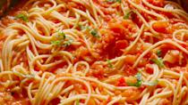 "<p>The simplest homemade spaghetti sauce, ever.</p><p>Get the recipe from <a href=""https://www.delish.com/cooking/recipe-ideas/recipes/a49063/tomato-butter-spaghetti-recipe/"" rel=""nofollow noopener"" target=""_blank"" data-ylk=""slk:Delish"" class=""link rapid-noclick-resp"">Delish</a>. </p>"