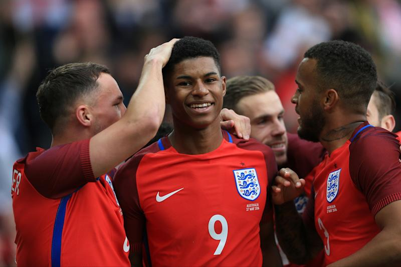 Marcus Rashford scored on his England debut last year