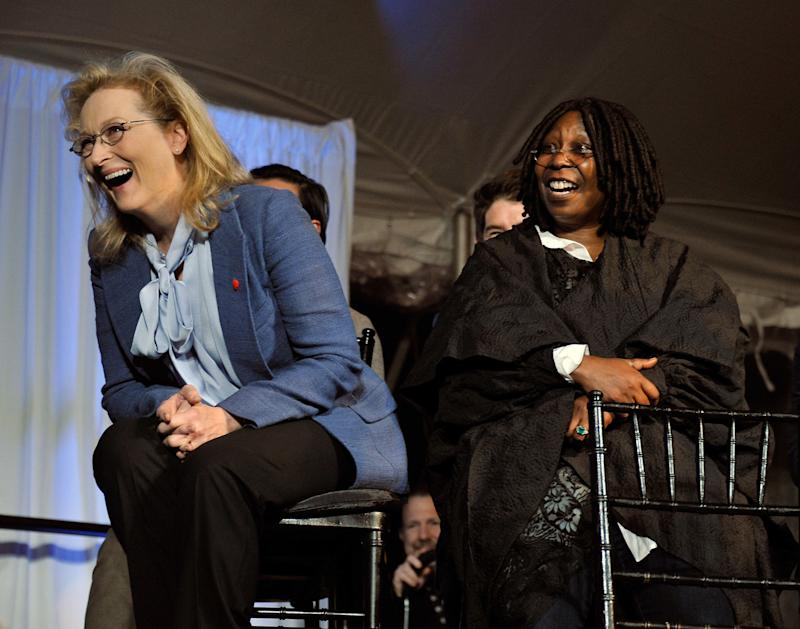 NEW YORK, NY - JUNE 04: Actress Meryl Streep and actress/TV personality Whoopi Goldberg attend the 2012 Made In NY Awards at Gracie Mansion on June 4, 2012 in New York City. (Photo by Stephen Lovekin/Getty Images)