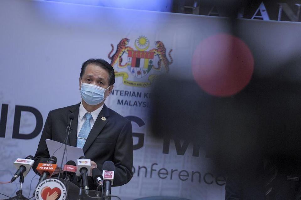 Health director-general Tan Sri Dr Noor Hisham Abdullah speaks during a press conference in Putrajaya December 2, 2020. — Picture by Shafwan Zaidon
