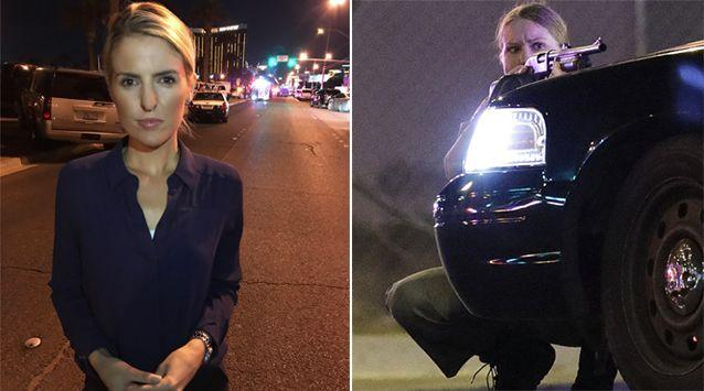 Seven News correspondent Ashlee Mullany (left) following her evacuation from the Mandalay Bay Hotel. A policewoman takes cover behind a car. Source: 7 News/AP