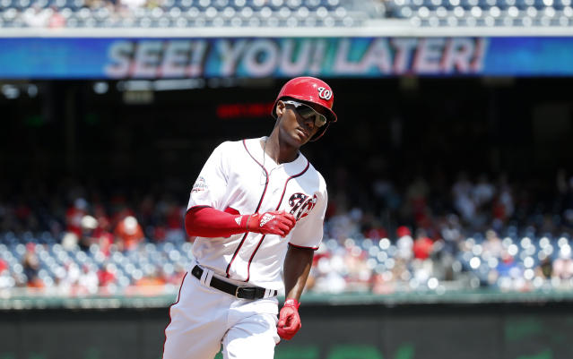 FILE - In this Aug. 9, 2018, file photo, Washington Nationals' Michael Taylor rounds the bases after hitting a solo home run during the fourth inning of a baseball game against the Atlanta Braves at Nationals Park in Washington. Taylor and the Nationals have argued baseball's first salary arbitration hearing this year. Taylor asked for a raise from $2.5 million to $3.5 million, and the Nationals countered with $3.25 million Thursday, Jan. 31, 2019, before arbitrators Mark Burstein, James Darby and Matt Goldberg. A decision is expected Friday. (AP Photo/Alex Brandon, File)