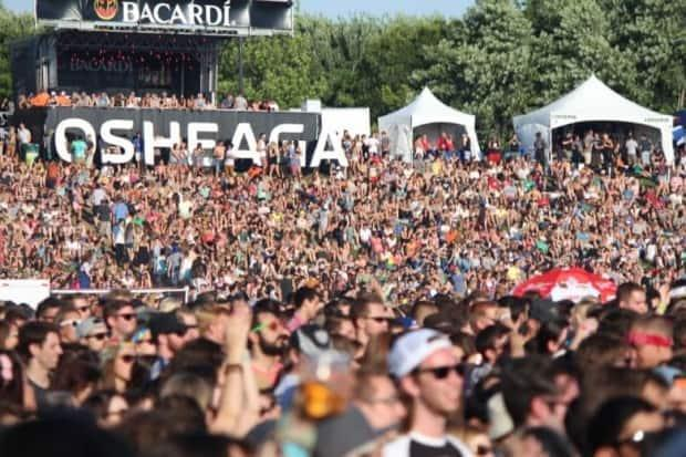 A colourful crowd of music lovers at the 2013 Osheaga festival in Montreal. The festival won't be going ahead this year. (Frank Opolko/CBC - image credit)