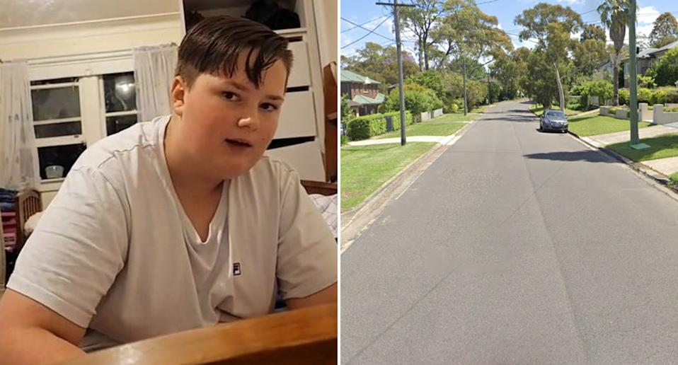 Douglas Melville, 13, and Bolwarra Avenue, West Pymble are pictured.