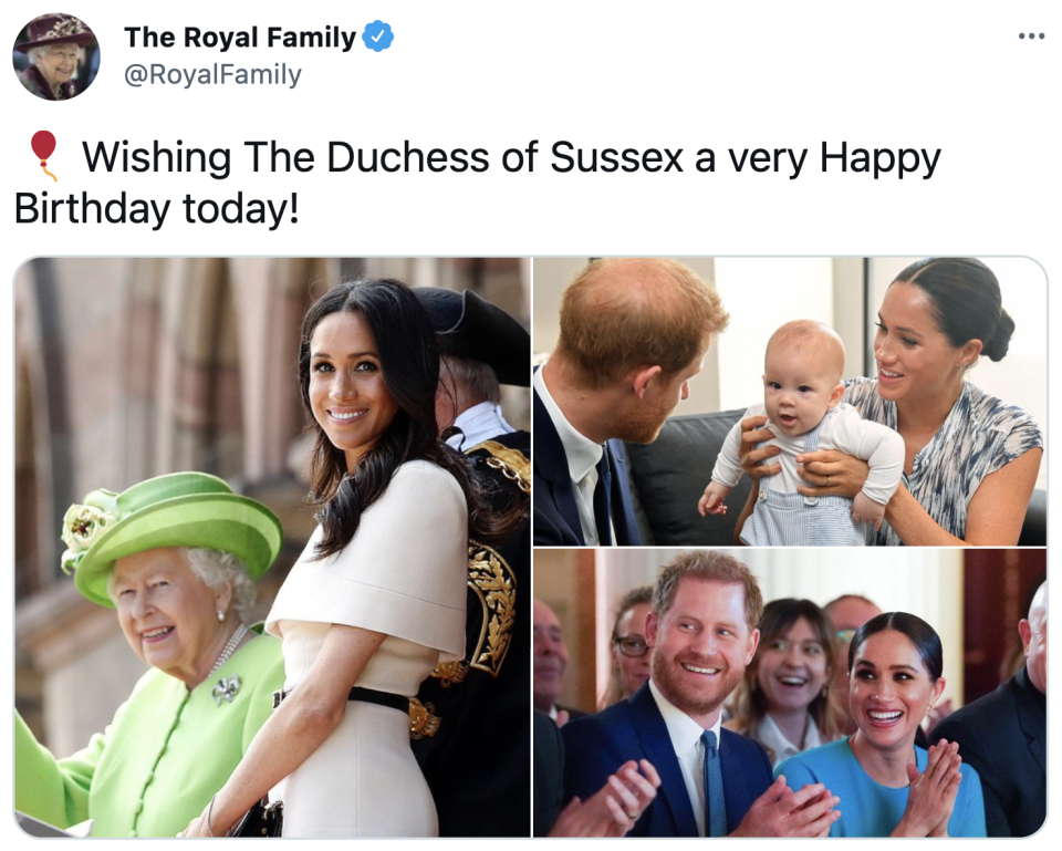 The Queen's birthday post for Meghan.