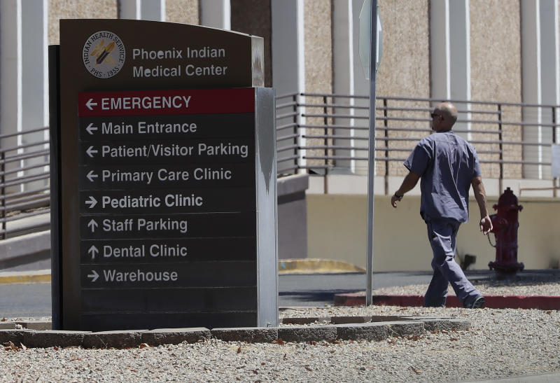 Indian Medical Center is shown Saturday, July 20, 2019 in Phoenix. A federal audit released Monday, July 22, finds that government hospitals placed Native Americans at increased risk for opioid abuse and overdoses. The audit says a handful of Indian Health Service hospitals failed to follow the agency's protocols for dispensing and prescribing the drug. The Indian Health Service agreed with the more than a dozen recommendations and says changes are in the works. (AP Photo/Matt York)