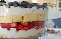 """<p>This beautiful coconut berry trifle is one of <a href=""""https://www.thedailymeal.com/entertain/25-best-party-foods-recipes-slideshow?referrer=yahoo&category=beauty_food&include_utm=1&utm_medium=referral&utm_source=yahoo&utm_campaign=feed"""" rel=""""nofollow noopener"""" target=""""_blank"""" data-ylk=""""slk:the best things to bring to a summer party"""" class=""""link rapid-noclick-resp"""">the best things to bring to a summer party</a>. Alternate layers of fluffy coconut cake, coconut cream and fresh summer berries like strawberries, blueberries, raspberries and blackberries for a festive presentation.</p> <p><a href=""""https://www.thedailymeal.com/recipes/coconut-berry-shortcake-trifle-recipe?referrer=yahoo&category=beauty_food&include_utm=1&utm_medium=referral&utm_source=yahoo&utm_campaign=feed"""" rel=""""nofollow noopener"""" target=""""_blank"""" data-ylk=""""slk:For the Coconut Berry Shortcake Trifle recipe, click here."""" class=""""link rapid-noclick-resp"""">For the Coconut Berry Shortcake Trifle recipe, click here.</a></p>"""