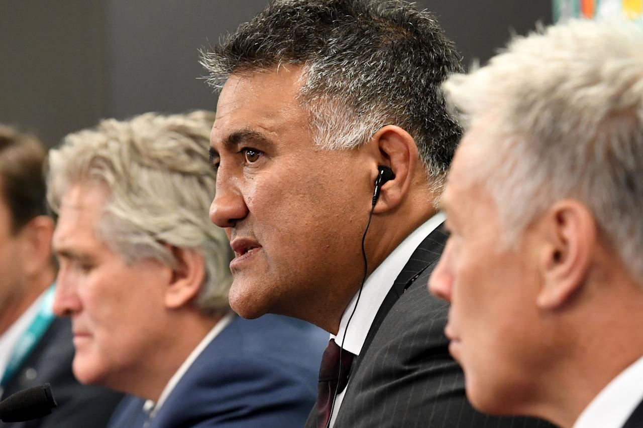 Japan's head coach Jamie Joseph (C) speaks beside Scotland's Director of Performance Scott Johnson (L) and Georgia's head coach Milton Haig (R) during their press conference following the Rugby World Cup Japan 2019 pool draw at Kyoto state guesthouse in Kyoto on May 10, 2017. (AFP Photo/Toshifumi KITAMURA)