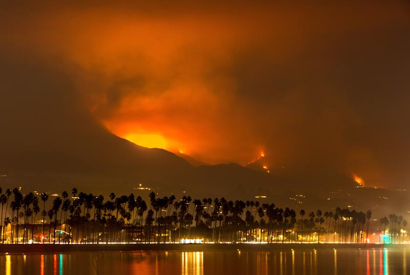 The Thomas Fire has dousedsurrounding towns with ash and smoke. (George Rose via Getty Images)
