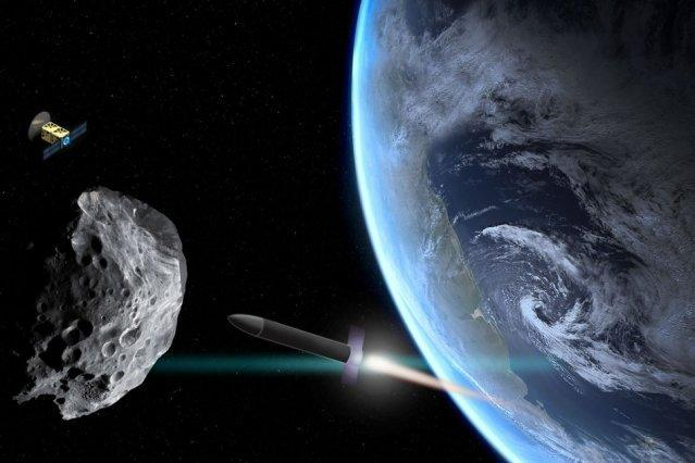 One possible way to deflect asteroids is to launch projectiles at them and change their course.