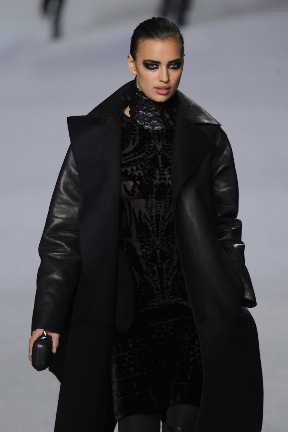 Irina Shayk walks the runway at the Kanye West  Ready-To-Wear Fall/Winter 2012 show as part of Paris Fashion Week at Halle Freyssinet on March 6, 2012 in Paris, France