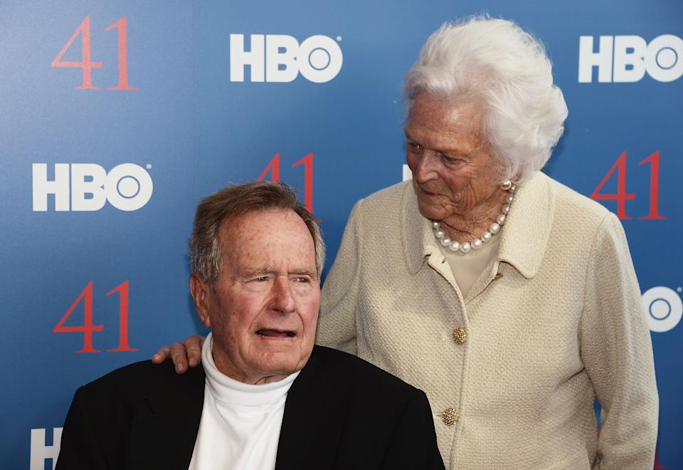 """George H.W. and Barbara Bush attend the HBO Documentary special screening of """"41,"""" a film about him, on June 12, 2012, in Kennebunkport, Maine."""
