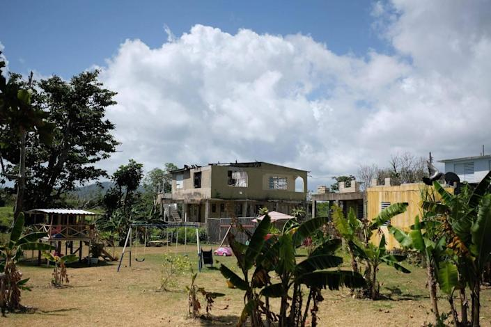 Partially destroyed houses are seen six months after Hurricane Maria affected Puerto Rico in Fajardo (Ricardo Arduengo/AFP/Getty Images)