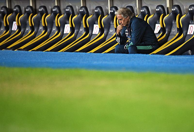 Flamengo's coach Jorge Jesus reacts as Fluminense defeated them on penalties in their Rio de Janeiro state championship football match at Maracana football stadium, Rio de Janeiro on July 8, 2020. (Photo by CARL DE SOUZA / AFP) (Photo by CARL DE SOUZA/AFP via Getty Images)