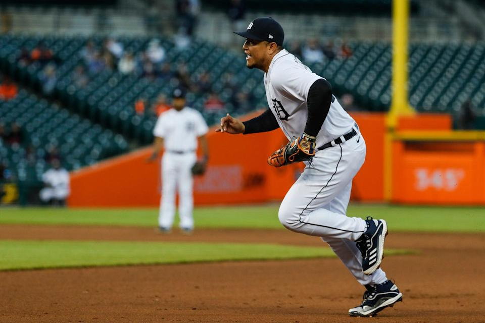 Detroit Tigers first baseman Miguel Cabrera (24) runs towards the first base against Kansas City Royals during fifth inning at Comerica Park in Detroit on Wednesday, May 12, 2021.