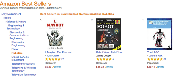 A book of political sketches entitled 'I, Maybot' has ended up at the top of Amazon's best seller chart for robotics.