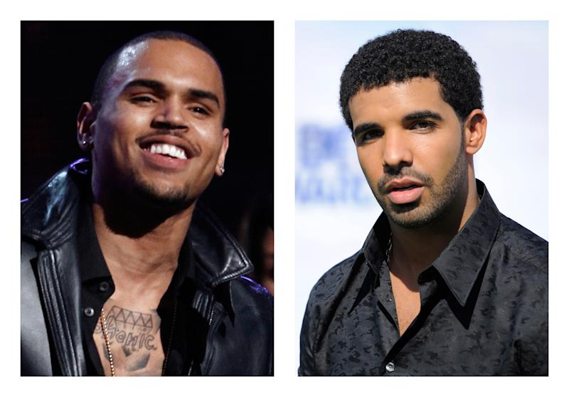 FILE- This combination of 2012 and 2011 file photos shows hip hop stars Chris Brown, left, and Drake. Entertainment Enterprises Ltd., a company with ties to a New York nightclub where the two performer's entourages were involved in a bottle throwing melee on June 14, 2012, has  filed a $16 million claim Wednesday, Aug. 15, 2012 against the rapper and the R&B singer. (AP Photo/Matt Sayles, Chris Pizzello, File)
