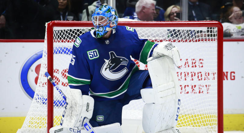 Vancouver Canucks goaltender Jacob Markstrom is expected to return to the team during their road trip this weekend. (Photo by Jeff Vinnick/NHLI via Getty Images)