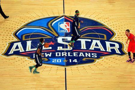 Eastern Conference guard Kyrie Irving (2) of the Cleveland Cavaliers brings the ball up court during the 2014 NBA All-Star Game in New Orleans, Louisiana, February 16, 2014. The NBA has cancelled plans to hold its 2017 All-Star Game in Charlotte, North Carolina, over state law decried as discriminatory against the lesbian, gay, bisexual and transgender community, according to a report July 21, 2016. Mandatory Credit: Bob Donnan-USA TODAY Sports/File Photo